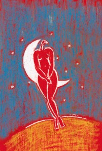 Illustration of Nude Woman and Moon