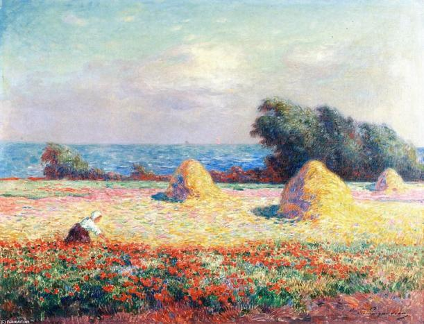 Ferdinand-Du-Puigaudeau-Stacks-of-Hay-and-Field-of-Poppies