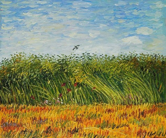 edge_of_a_wheat_field_with_poppies_and_a_lark_van gogh