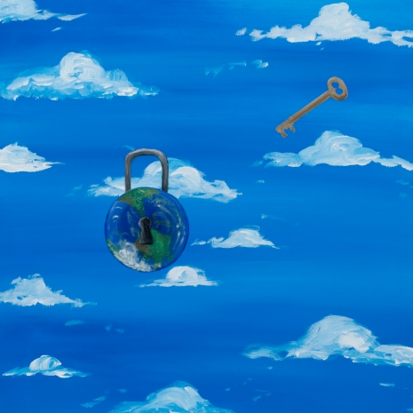 Jay Fancher_padlock and key in sky