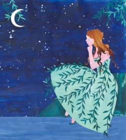 Sad young women crying at night wearing weeping willow pattern dress --- Image by © Vicky Scott/Ikon Images/Corbis