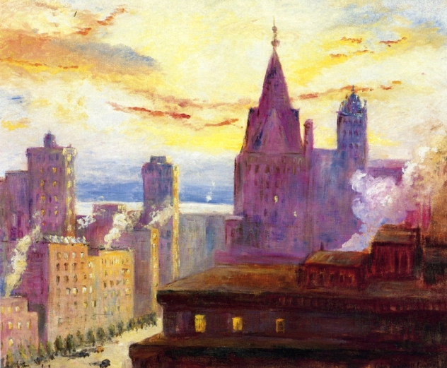 Colin_Campbell_Cooper,_Rooftops_at_Sunset