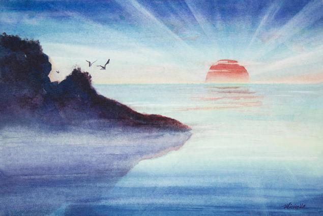 distant-shoreline-sunrise-watercolor-painting-michelle-wiarda